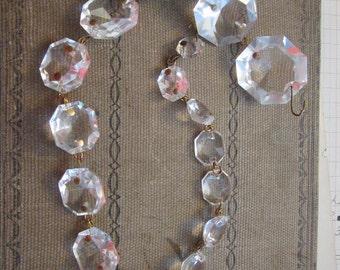 vintage chandelier crystals - 16 inch strand - 17 prisms