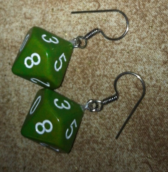 green 10 sided dice nerdy earrings d10 by pigfuzzy16 on etsy