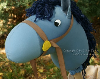DELUXE Blue Stick Horse, MADE to ORDER