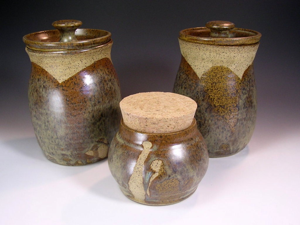 kitchen canister storage jar pottery canister set brown