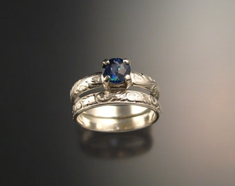 Mystic Blue Topaz Wedding set Sterling Silver Sapphire substitute ring made to order in your size
