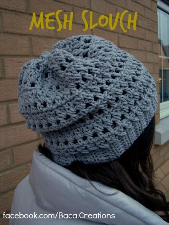 PDF Crochet Pattern - Mesh Slouch Hat (6 Months - Adult) Cap Men Women Boy Girl Gift Easy