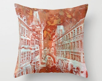 Prague Street View Watercolor Painting Throw Pillow Cover