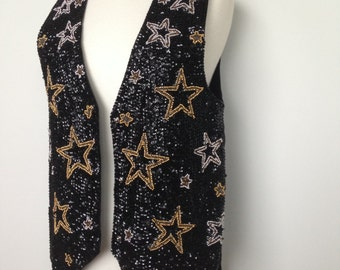 Funky Sparkly Vintage 80s Star Vest / Black Gold Silver Beaded Detailing / One Of Kind Top / Festival Clothing