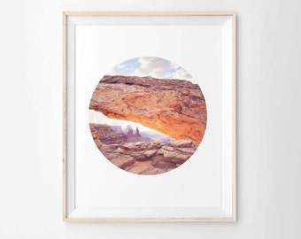 "Mesa Arch Circular Format Photo Archival Print - Canyonlands Utah - 8""x10"", 5""x7"", 9""x12"" or 11""x14"""
