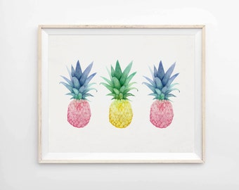 Pineapple Trio - Archival Pineapple Print - Pineapple Art Print - Tropical Decor - Giclee Print - Art & Collectibles - Pineapple Decor