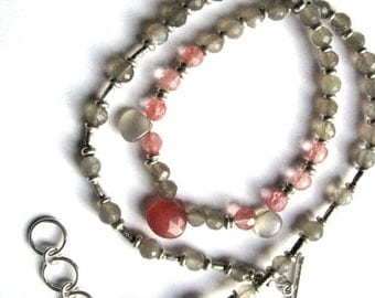 Rhodochrosite, Grey Gray Moonstone and Strawberry Quartz Sterling Silver Necklace