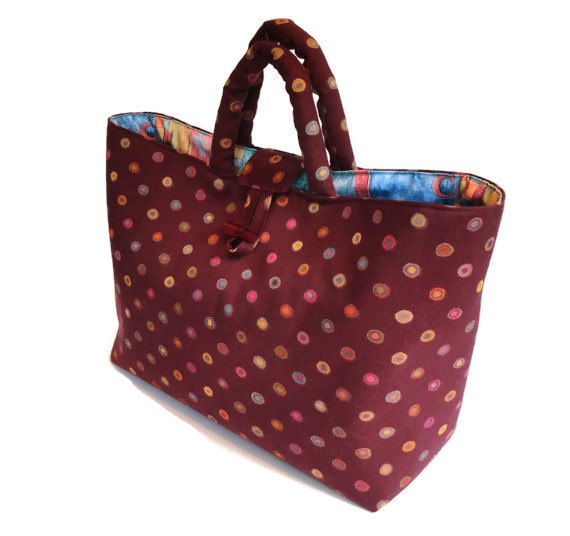 Knitting Bag Project Tote Burgundy Graphic Print