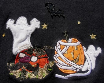 Fanciful Halloween Cardigan Knit Top w Great Appliques and Bead Work