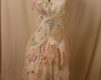Art to Wear Dress Alexandria Leaving Vintage Lace Apocalyptic Leonard Cohen Inspired Ragdoll Dress in Cream and Blush Pink