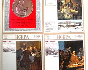 Set of 18 Vladimir Lenin Iskra Newspaper Cards - Communist Propaganda Post Cards Prints Postcards - 1985 - from Russia / Soviet Union / USSR