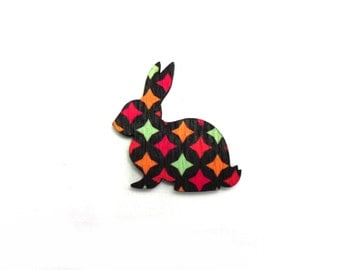 Black & Multicoloured Diamond Laser Printed Wooden Rabbit Brooch - Handmade Jewellery