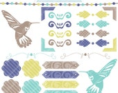 Hummingbird Elements V2 Digital Clipart for Commercial or Personal Use, Hummingbird Silhouette, Accents, Lime, Teal, Brown, Lavendar