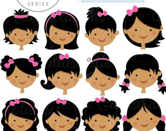Dark Girl Faces - Create A Character Series - Cute Digital Clipart - Commercial Use OK - Mix & Match Sets to Create Your Own Character