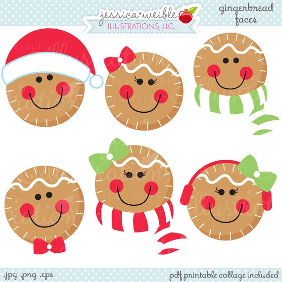 Gingerbread Faces Cute Christmas Digital Clipart, Commercial Use OK ...