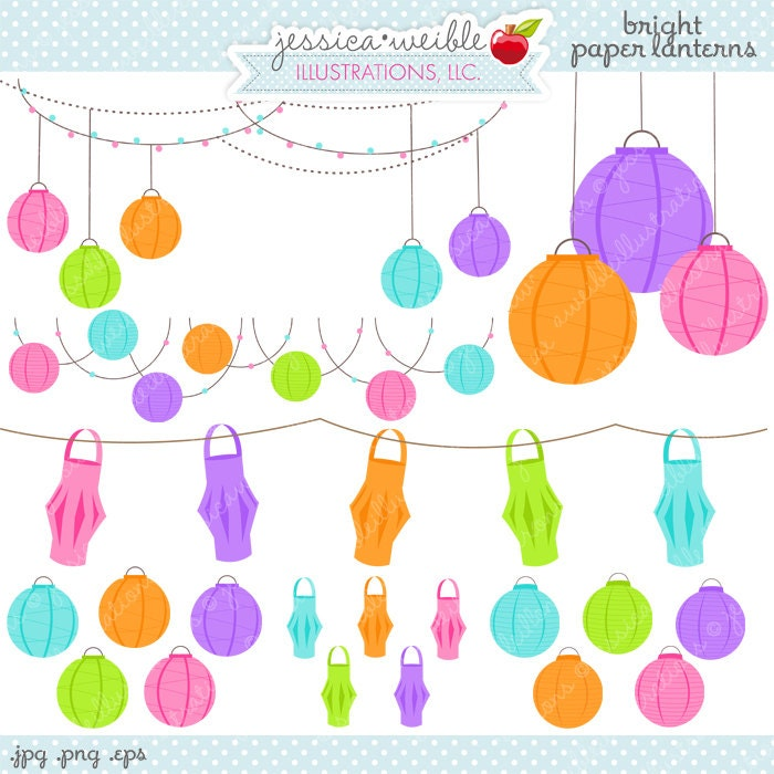 Bright Paper Lanterns Cute Digital Clipart Commercial Use Ok