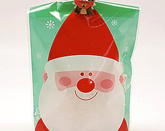 10 Let's Snow Cellophane Bags / Bottom M type - Santa (5.5 x 7.9in)