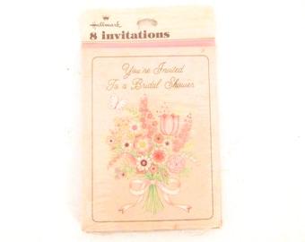Package of 8 Vintage Hallmark Cards Pink Bridal Shower Invitations D1