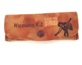 Vintage Wildwood, NJ Souvenir Leather Pouch with Mirror