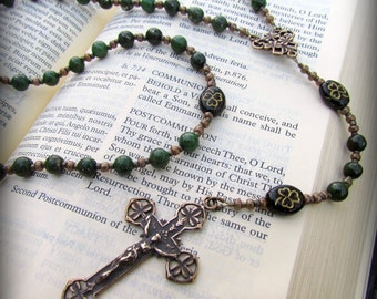 Irish Rosary with African Jade Gemstones and Czech Shamrock beads
