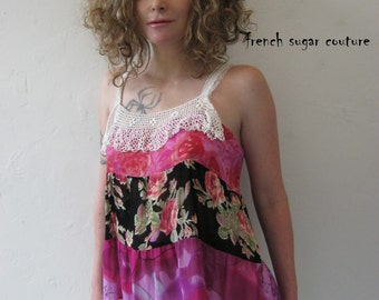 French Sugar Couture - Parisian Upcycled Tank-Top - Altered Couture - Size Medium