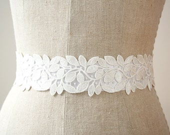 White Wedding Sash, Lace Sash, Bridal Sash