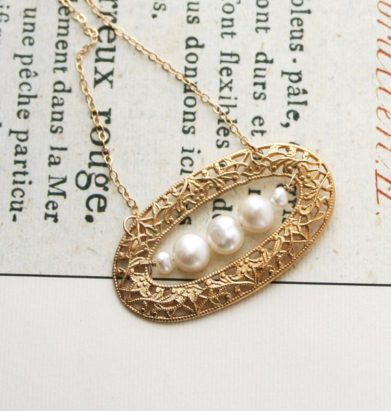 Pearl Necklace, Filigree Necklace, Wedding Jewelry