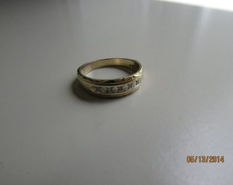 Vintage Ring 14k yellow gold Band with Diamonds