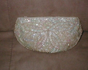 Vintage IVORY Beaded Evening Clutch Purse