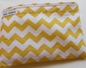 Reusable Eco Friendly Sandwich or Snack Bag Yellow Chevron