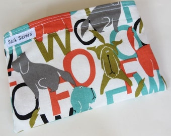 Reusable Eco Friendly Sandwich or Snack Bag Woof Dog