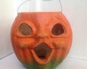 25% off 1940s Halloween jack o lantern / vintage 40s pumpkin decoration