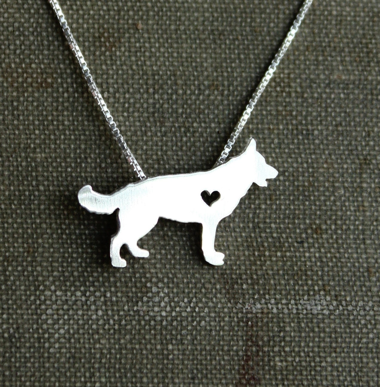 German Shepherd necklace tiny sterling silver by JustPlainSimple