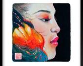 """Japanese Hawaiian Girl Lava Fire Beautiful Face Watercolor Painting Art Square by JUURI 6 x 6"""""""