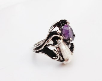 vintage silver ring  baroque pearl and amethyst size 7