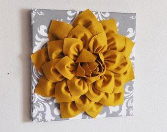 """Flower Wall Hanging -Mustard Dahlia on Gray Damask 12 x12"""" Canvas Wall Art- 3D Felt Flower"""