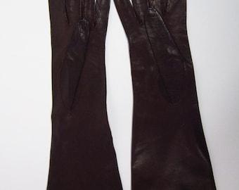 6-1/2-Womens Vintage Dark Brown Kid Leather Dress/Prom/Church Gloves - 12 inches(138g)