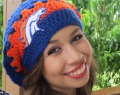 Denver Broncos Colorado Slouchy Hat, Slouchy Beret, Blue and Orange, Crochet Slouchy Beanie, Football