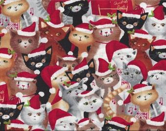 Caroling Cats in Santa Hats I Spy Cat Christmas Fabric By the Fat Quarter