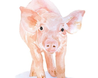 Pig Watercolor Painting Giclee Print 8 x 10 ( 8.5 x 11 ) Fine Art Piglet Nursery Art - Farm Animal Art