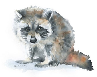 Raccoon Watercolor Painting - 7 x 5 - Giclee Print - Nursery Art - Woodland Animal
