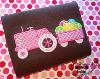 Easter Egg Tractor applique embroidery design