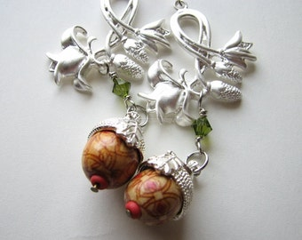 Acorn earrings | silver | wood | flower | statement | nature inspired | Final Sale
