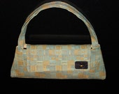 Small Purse, Baguette, Modern vintage handbag, 50's - 60's style, teal and gold retro print, durable fabric