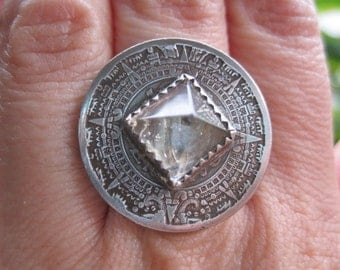 Mexico 1940's 10 Centavos / Quartz Power Pyramid Statement Cocktail Ring with Sterling Silver Band MADE TO ORDER.