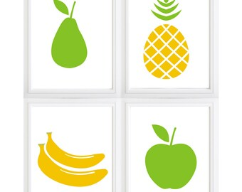 Simple fruit silhouettes - Banana - pear - pineapple- apple wall art - set of 4 - colors can be changed!!