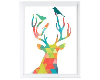 """Modern Deer Head with Birds on Antlers  - abstract shape -Digital Files with Instant Download-Home Decor-8""""x10"""" 1-File SALE!!!"""