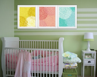 """Baby blue Baby pink and yellow- Flower Burst- Digital Files with Instant Download-Home Decor-8""""x10"""" Set of 3 files -colors can be changed:)"""