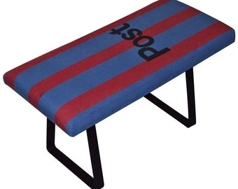 French Postal Bag as Bench on Steel Bracket Legs