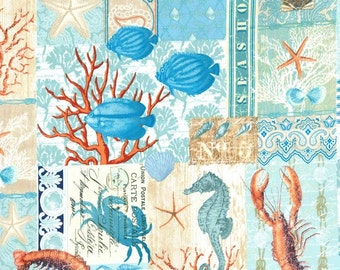 SALE!- By the Sea Collage Michael Miller By the Sea Fabric 1 Yard